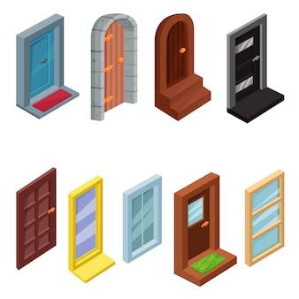 Zestaw izometrycznych okien i drzwi wejściowych. elementy do gry internetowej, mobilnej lub komputerowej