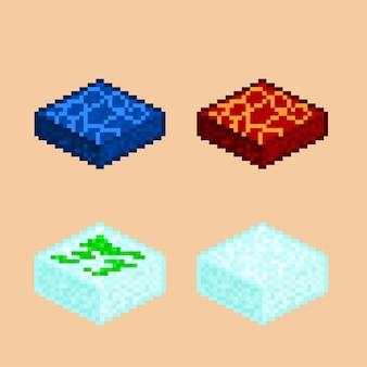 Zestaw izometrycznych płytek do gry w stylu pixel art