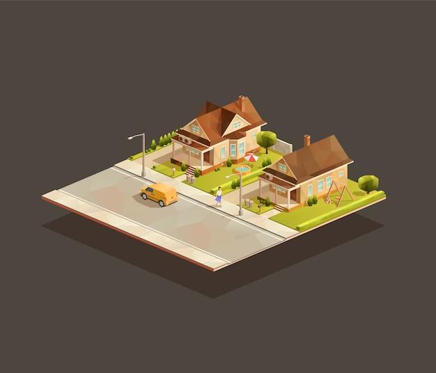 Zestaw izometrycznych podmiejskich domów jednorodzinnych na ulicy z minivanem