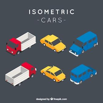 Zestaw izometrycznych pojazdów miejskich