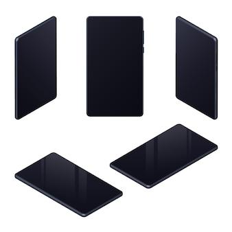 Zestaw izometrycznych realistycznych telefonów komórkowych z czarnym pustym ekranem do prezentacji interfejsu użytkownika, ux, aplikacji na białym tle. do makiet i szablonów stron internetowych. ilustracja wektorowa.
