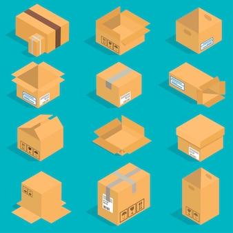 Zestaw izometrycznych ruchomych pudełek