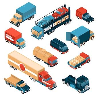 Zestaw izometrycznych samochodów dostawczych na białym tle z samochodami ciężarowymi i pojazdami do różnych ładunków
