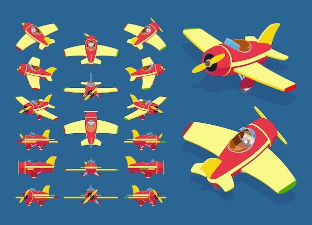 Zestaw izometrycznych samolotów zabawkowych