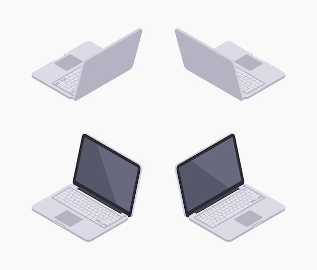 Zestaw izometrycznych srebrnych laptopów izometrycznych