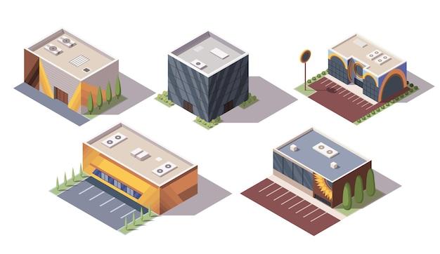 Zestaw izometrycznych supermarketów lub sklepów spożywczych. izometryczne ikony wektorowe lub elementy infografiki reprezentujące budynki centrum handlowego. targowiska 3d dla infrastruktury miejskiej.