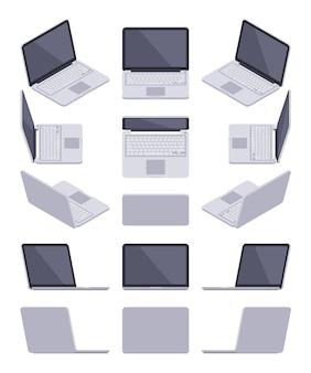 Zestaw izometrycznych szarych laptopów