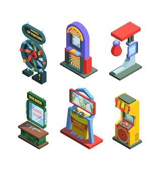 Zestaw izometrycznych trenerów automatów do gier arcade urządzenia do gier automatowych do sprawdzania siły, szczęścia z osprzętem joystickami i stacjonarnymi kolorowymi ekranami retro elektronicznych konsol.