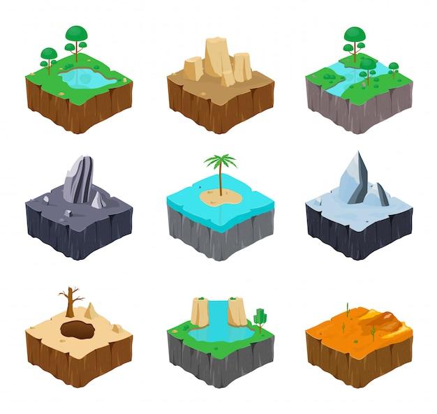 Zestaw izometrycznych wysp gry. śliczne jezioro, rzeka, skała, rzeka, wyspa, lód, pustynia, wodospad, kanion. kolekcja kolorowych ilustracji.