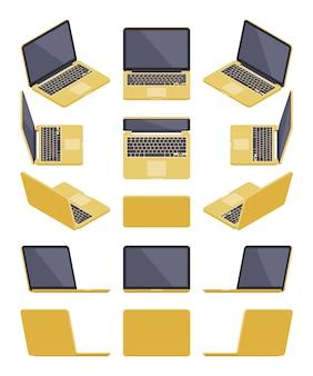 Zestaw izometrycznych złotych laptopów