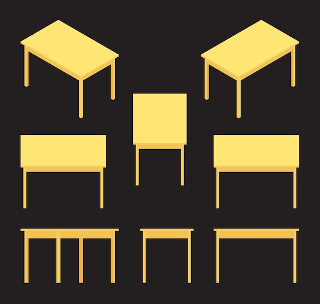Zestaw izometrycznych żółtych tabel