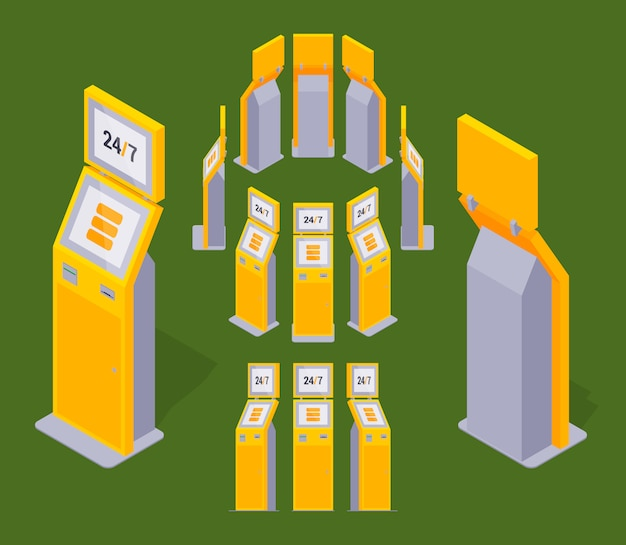 Zestaw izometrycznych żółtych terminali płatniczych
