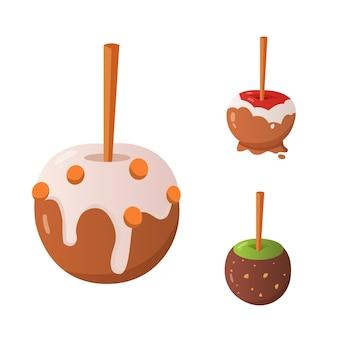 Zestaw jabłek słodki karmel i cukierki czekoladowe. ilustracja.