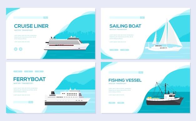 Zestaw jachtu, łodzi, statku towarowego, parowca, promu, łodzi rybackiej, holownika, masowca, statku, statku wycieczkowego.
