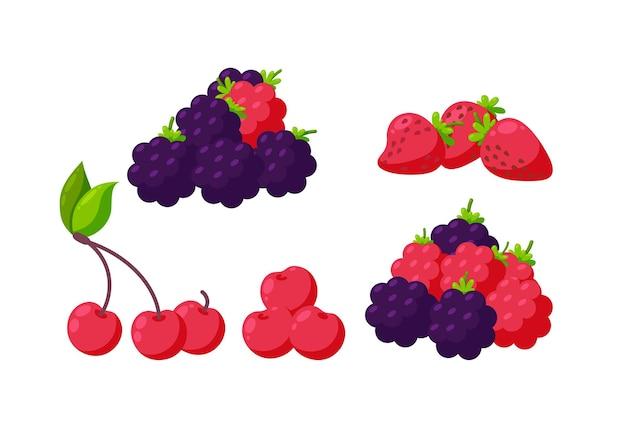 Zestaw jagód na białym tle truskawka malina wiśnia i jeżyna