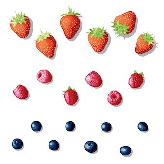 Zestaw jagód. różne jagody leżące na białym tle. jasne, różne świeże jagody. ilustracja