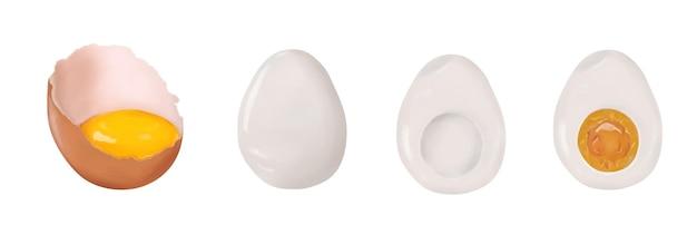 Zestaw jaj kurzych łamane skorupki z żółtkiem, gotowane całe gotowane na twardo cutaway na białym tle