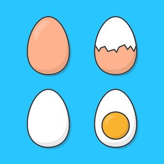 Zestaw jaj kurzych na białym tle na niebiesko