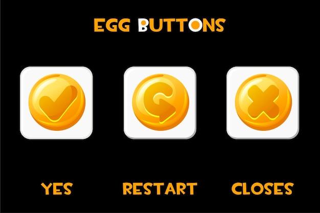 Zestaw jaj z kwadratowymi przyciskami restartuje, zamyka i tak. pojedyncze złote białe przyciski dla menu gry.