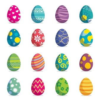 Zestaw jaja wielkanocne na białym tle.