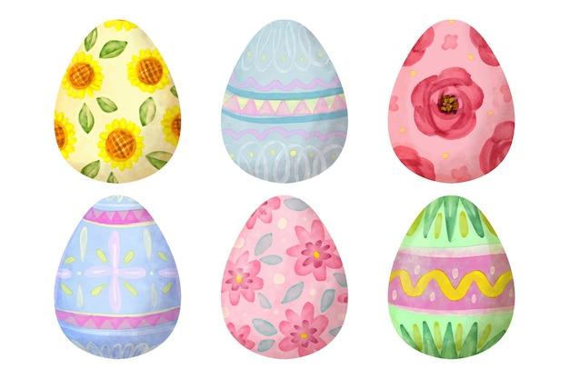 Zestaw jajek wielkanocnych w stylu przypominającym akwarele
