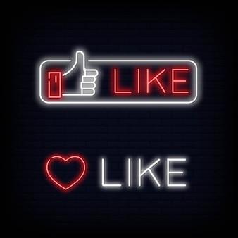 Zestaw jak symbol znaku neonowego i tekst. kciuki w górę. facebook like