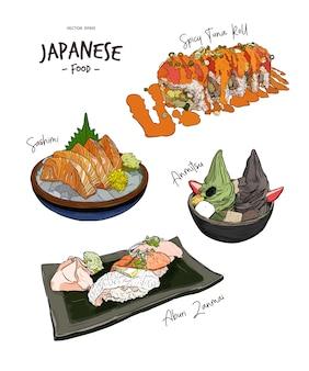 Zestaw japońskich potraw