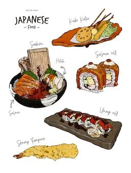 Zestaw japońskie jedzenie w ręku narysować szkic