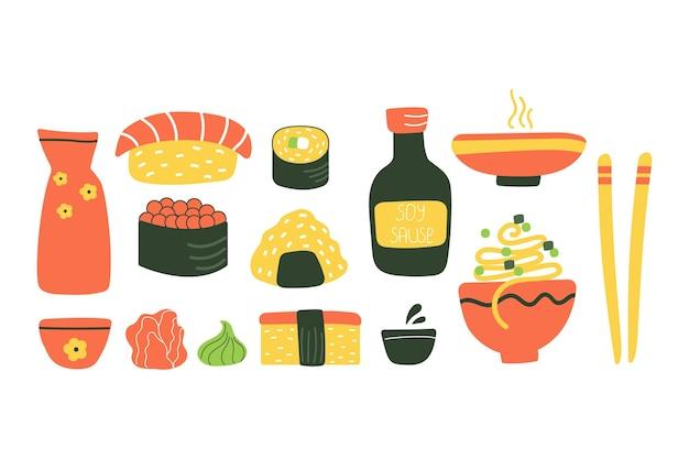 Zestaw japońskiego jedzenia płaska ilustracja