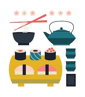 Zestaw japońskiego jedzenia