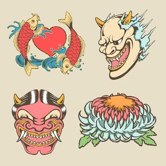 Zestaw japońskiego rocznika tradycyjny tatuaż