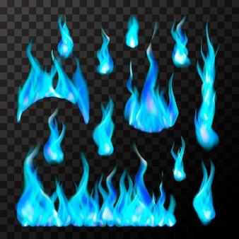 Zestaw jasne różne niebieskie płomienie gazu na przezroczystym