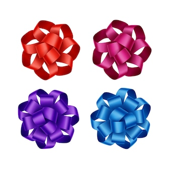Zestaw jasny czerwony szkarłatny ciemny różowy magenta fioletowy fioletowy niebieski prezent wstążka łuki bliska na białym tle na białym tle