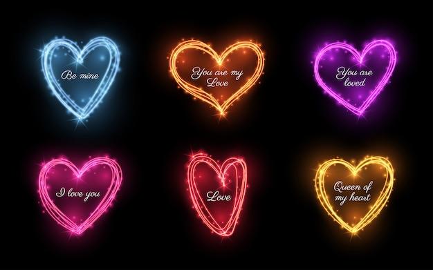 Zestaw jasnych efektów świetlnych w kolorze serca