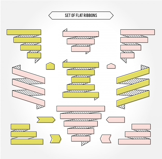 Zestaw jasnych geometrycznych wstążek do swojego projektu