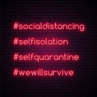 Zestaw jasnych hashtagów samo kwarantanny.