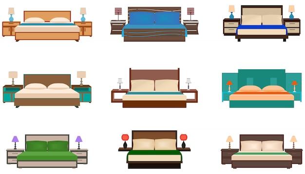 Zestaw jasnych kolorów, kolekcja dziewięciu łóżek ze stolikami nocnymi i lampkami.