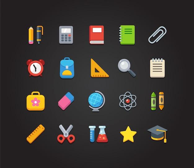 Zestaw jasnych kolorowych ikon szkolnych i edukacyjnych: papeterii, ikon nauki i nauki oraz różnych przyborów szkolnych.