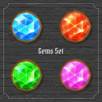 Zestaw jasnych kolorowych kamieni szlachetnych. ilustracji wektorowych