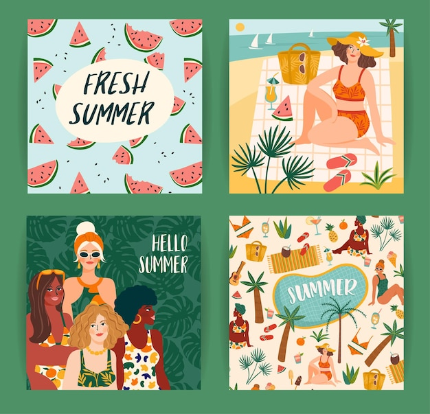 Zestaw jasnych letnich ilustracji z uroczymi kobietami. karta