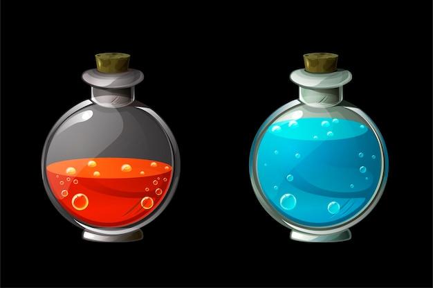 Zestaw jasnych magicznych mikstur w szklanych butelkach. trucizna lub eliksir w kolbach.