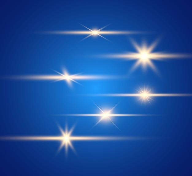 Zestaw jasnych, pięknych gwiazd. efekt świetlny. jasna gwiazda. piękne światło do ilustracji.