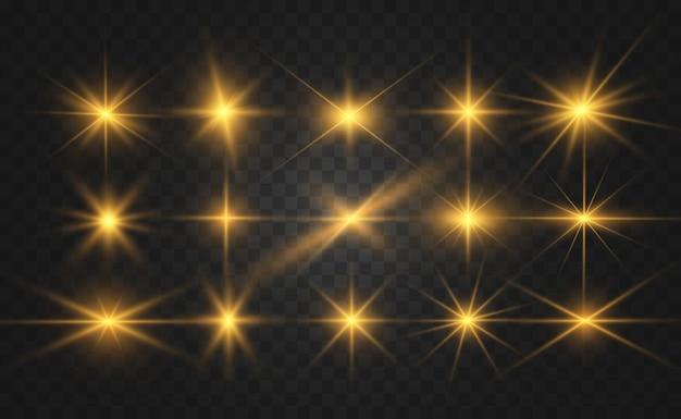 Zestaw jasnych pięknych gwiazd. efekt świetlny. jasna gwiazda. piękne światło do zilustrowania.