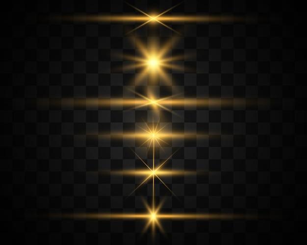 Zestaw jasnych pięknych gwiazd. efekt świetlny. jasna gwiazda. piękne światło do zobrazowania. biały brokat mieni się ze specjalnym efektem świetlnym. wektor błyszczy.