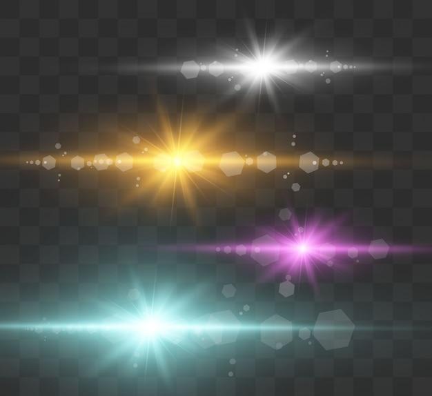 Zestaw jasnych, pięknych gwiazd. efekt świetlny. jasna gwiazda. piękne światło na ilustrację. gwiazdka świąteczna. białe iskierki świecą specjalnym efektem świetlnym. wektor błyszczy na przezroczystym tle.