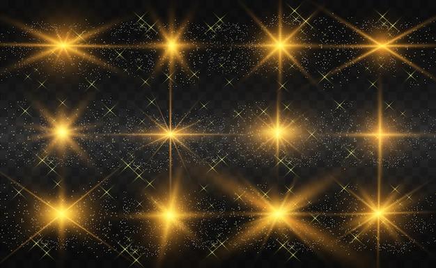 Zestaw jasnych, pięknych gwiazd. efekt świetlny. jasna gwiazda.