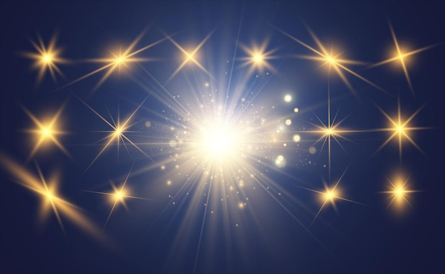 Zestaw jasnych pięknych gwiazd. efekt świetlny. jasna gwiazda.