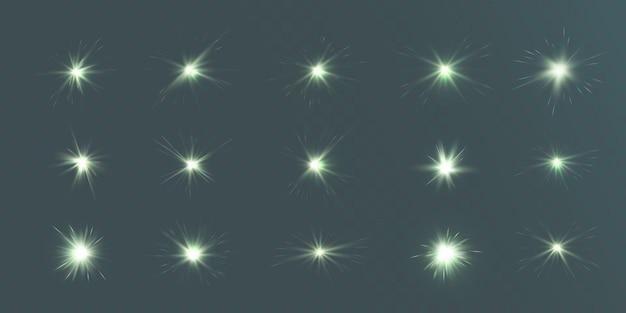 Zestaw jasnych, pięknych gwiazd efekt świetlny