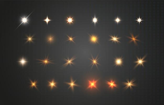 Zestaw jasnych pięknych gwiazd na przezroczystym tle ilustracji wektorowych