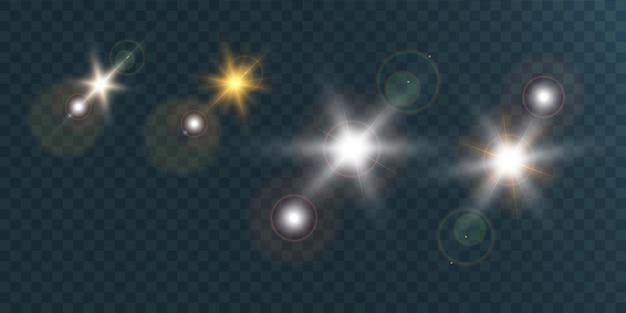 Zestaw jasnych pięknych gwiazd na przezroczystym tle ilustracji.